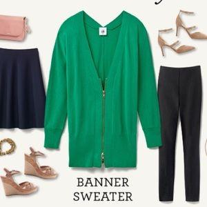 CAbi green banner sweater